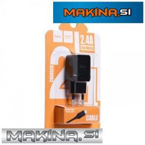 HOCO Hišni polnilec - 2.4A plug + micro USB kabel C22A set črn